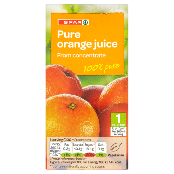 Spar Pure Orange Juice from Concentrate 200ml