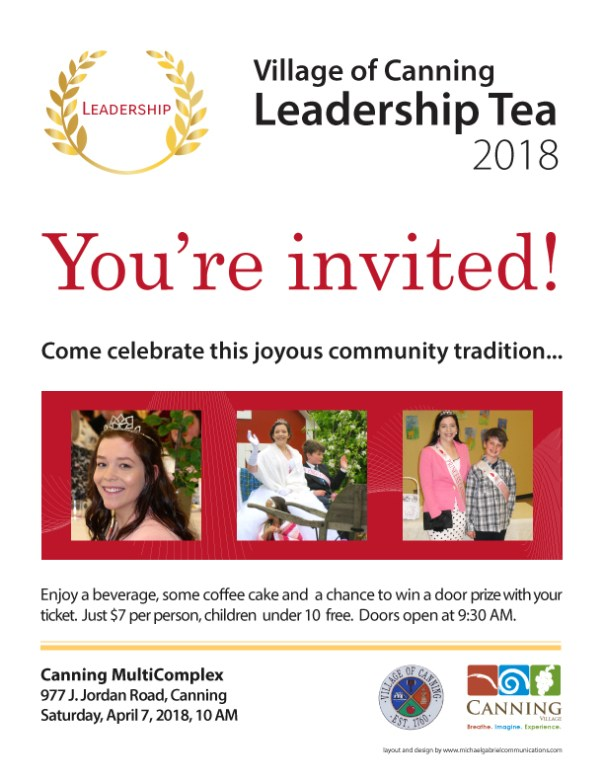 Canning Village's Leadership Tea poster