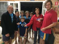 Tuesday 14th April 2015 Judith Thompson presenting tonights winners Mark Shellard and Tim Coward with movie vouchers with our Champion Lakes guests looking on.