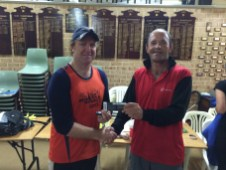 Tuesday 21st April 2014 : Club member Doug Hodson presentings tonights winner Simon O'Sullivan with a movie voucher