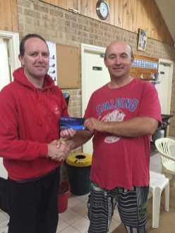 Tues 26th April 2016 : Simon O'Sullivan presenting tonights winner Mike Galanty with a movie voucher