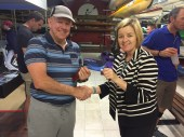 Tues 1st November 2016 : Tonights photo shows Club Secretary Judith Thompson presenting tonights winner Steve Mitchinson with a movie voucher