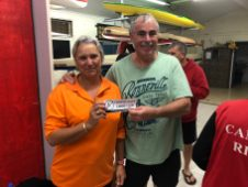 Tues 27th March 2017 : Tonight's photo shows new club member Eve McNicoll presenting Louis Botes with a movie voucher