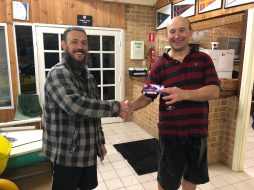 Tuesday 28th August 2018 : Tonight's photo shows club member Mike Galanty presenting tonight's winner Ryan Dillon with a movie voucher.