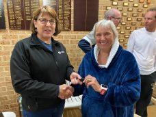 Tuesday 28th July 2020 : Tonight's photos shows club Treasurer Simone Burge presenting Eve McNicol with a Boat number holder.