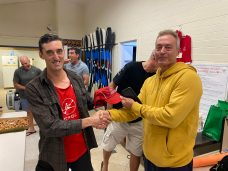 Tuesday 3rd November 2020 : Tonight's photos shows club member Luc Jacob presenting Matt Jacob with a Club Cap as a prize.