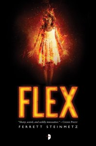 A girl, on fire, in a white dress over the word FLEX on a black background