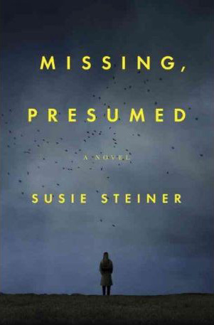 book cover of Missing, Presumed by Susie Steiner, showing yellow type over a greyscale image of a woman silhouetted against the sky, with birds flying overhead