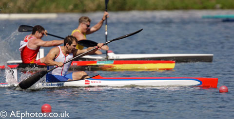 Sprint racing: Ed McKeever, a British kayak sprint athlete, in action