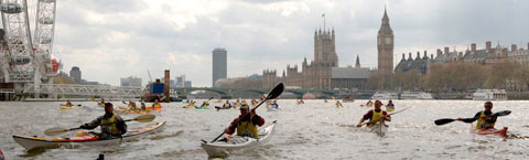 Kayakers take part in the 2011 Kayakathon on the River Thames