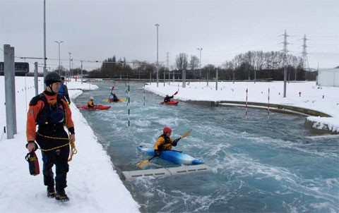 Kayaks on the Lee Valley Legacy white water course
