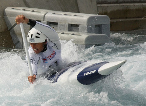 David Florence paddling canoe on white water for London 2012 Olympic selection trials.