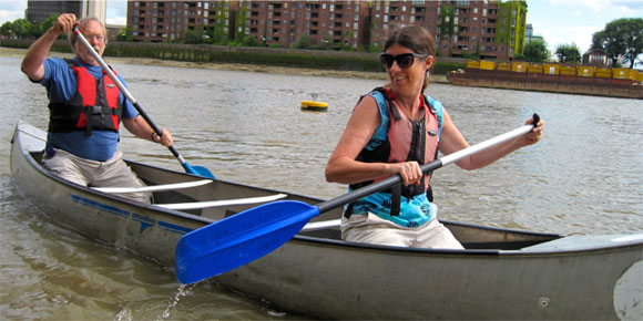 Open canoeing for adults over 50 on the Thames with the Upper Deckers at Westminster Boating Base.