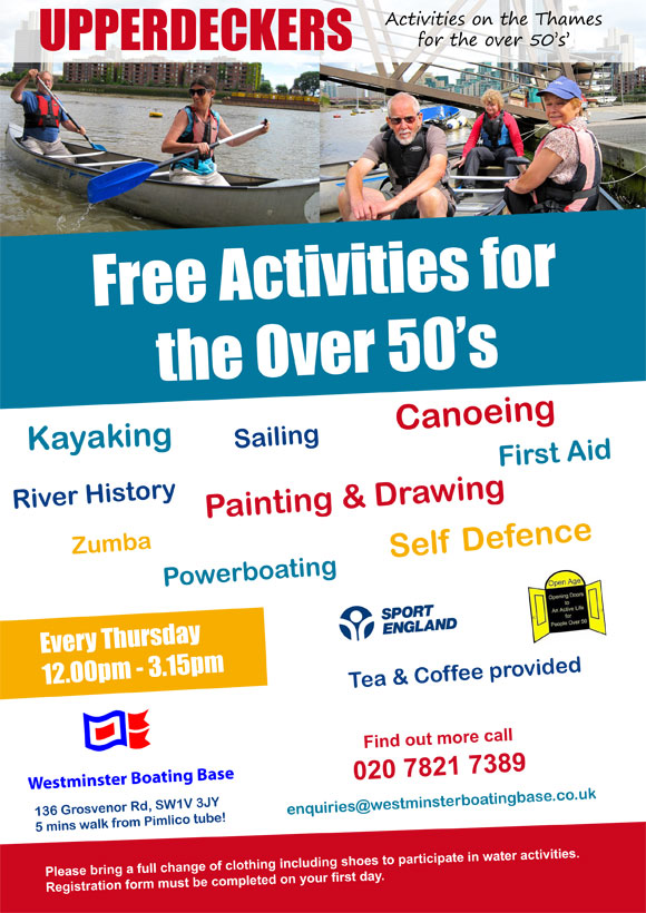 Kayak and canoe activities for adults over 50 at Westminster Boating Base