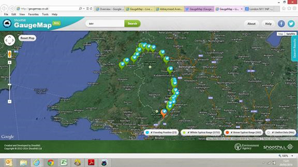 GauageMap select by area, river or catchment.
