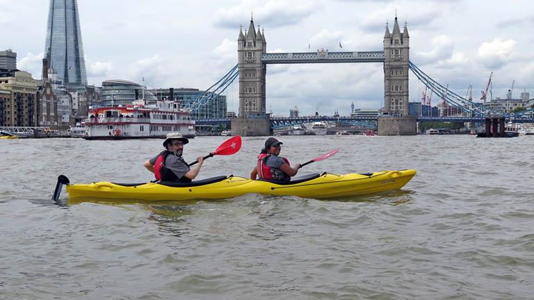 London Kayak Company and Tower Bridge, River Thames London