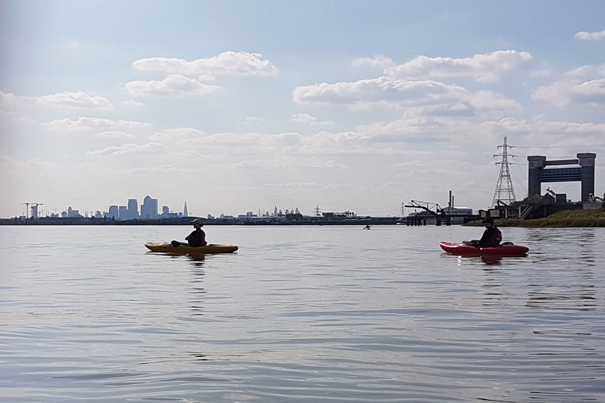 Kayaks on the River Thames close to Barking Creek