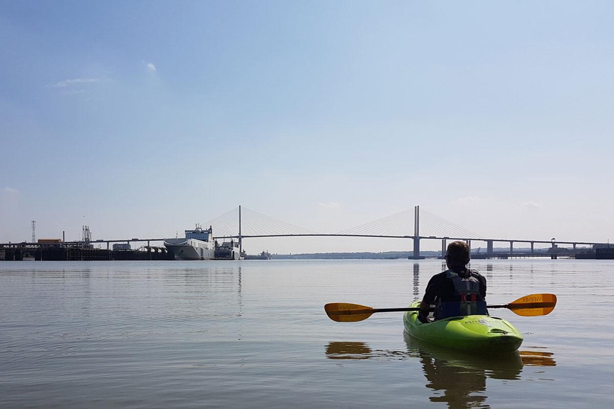 Queen Elizabeth II Bridge as seen from the Thames by kayak