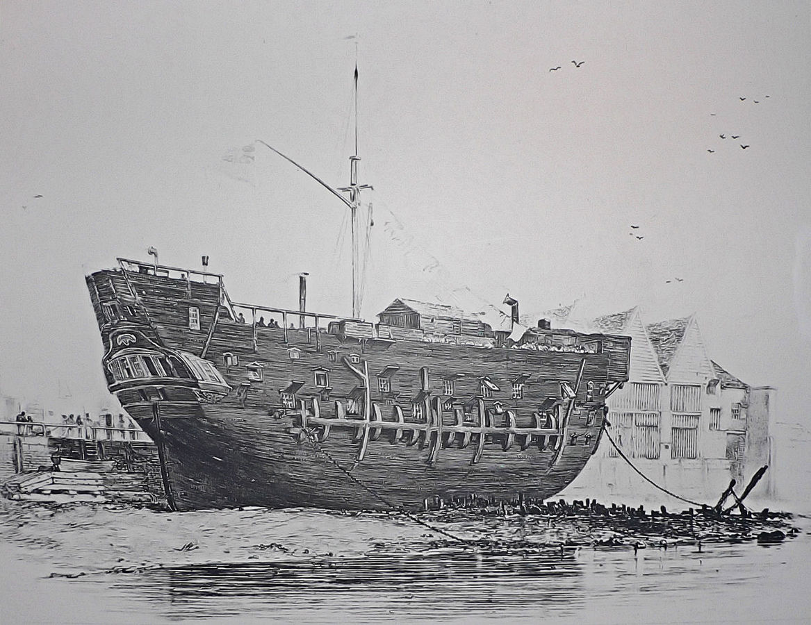 Example of a prison hulk. This is the convict ship HMS Discovery at Deptford. The ship was originally launched as a 10-gun sloop at Rotherhithe in 1789, before serving as a convict hulk from 1818 until 1834.