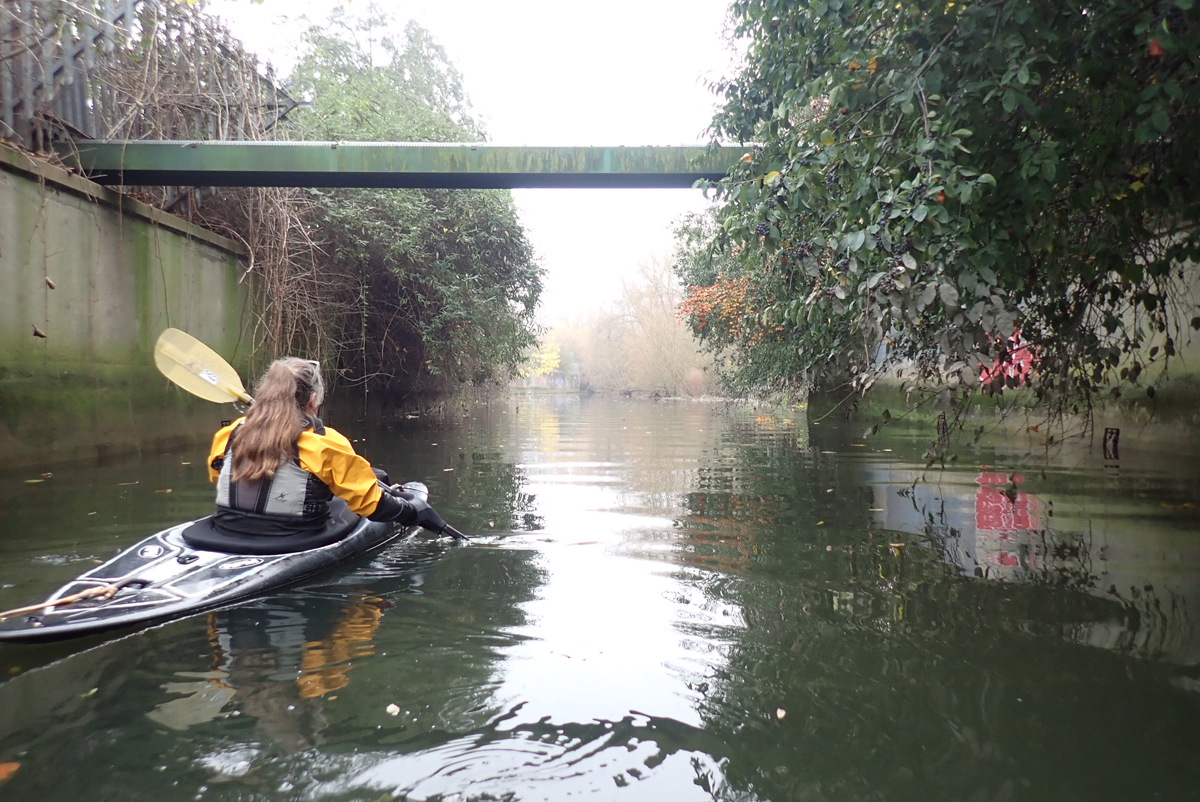 Kayaker paddling along a river which is contained within concrete walls, with graffiti, and lush plant growth above the walls.