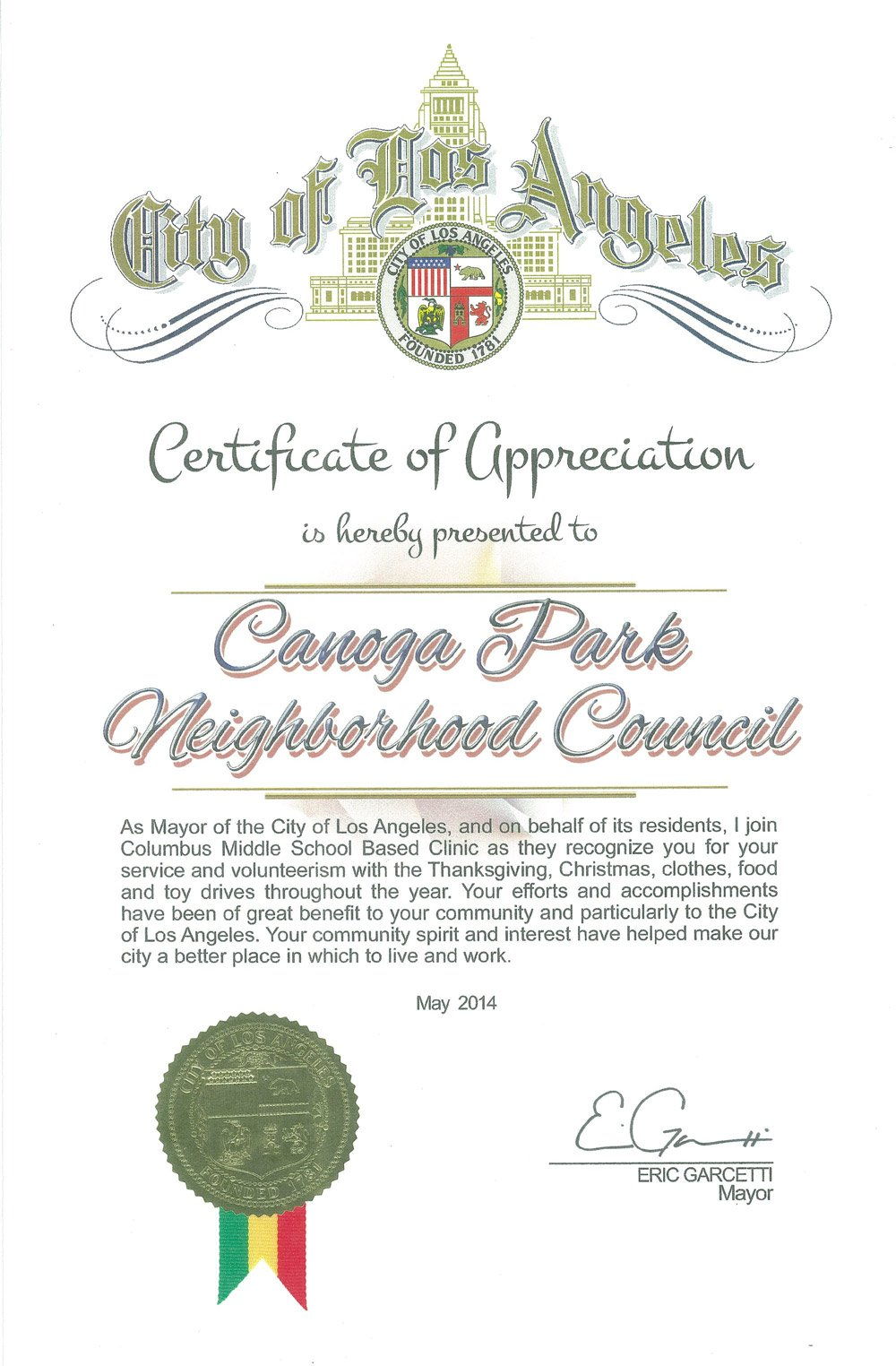Certificates of Recognition for the Canoga Park Neighborhood Council
