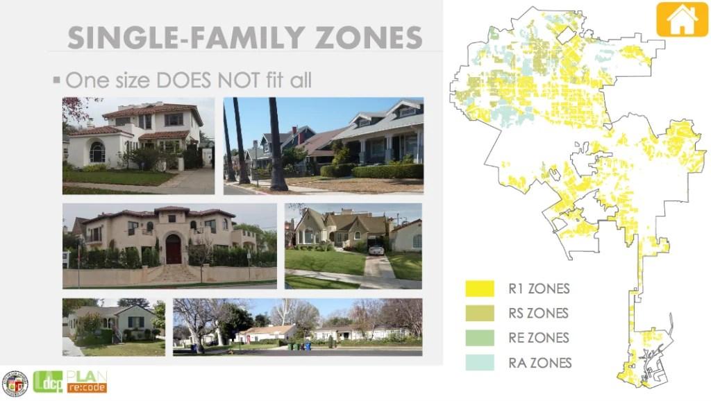 Re:code presentation slide on single-family zones. Source: City Planning