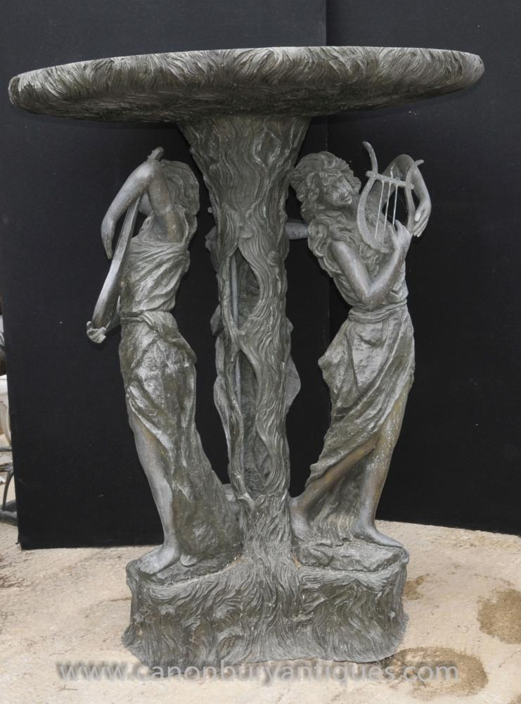 cast iron outdoor chairs two seater xl french bronze maiden fountain garden water feature