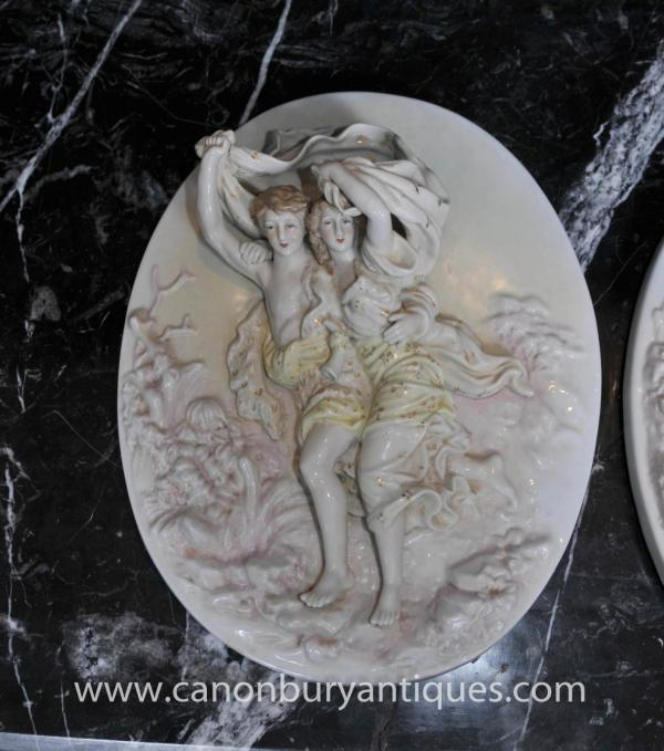 Pair Sevres Porcelain Cherub Relief Plaques Wall Plates Angel
