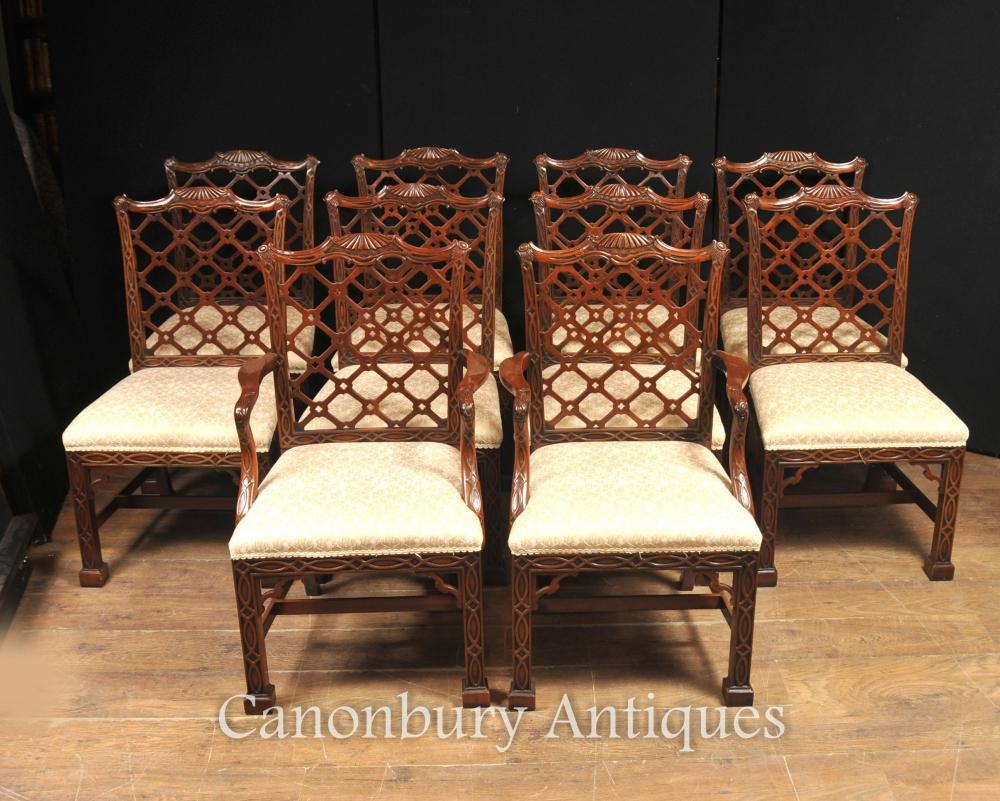 10 Hand Carved Mahogany Gothic Chippendale Dining Chairs