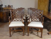 10 Mahogany Gothic Chippendale Dining Chairs Diners   eBay