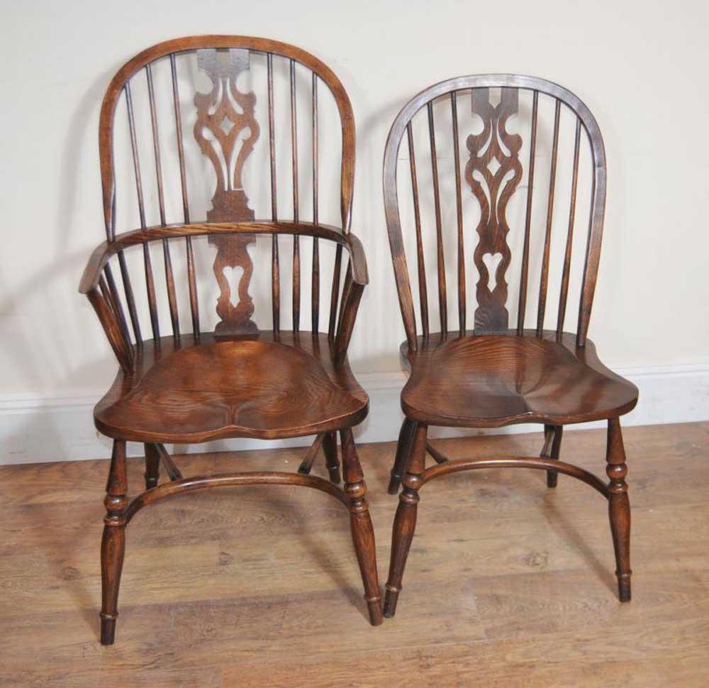 10 Antique Windsor Kitchen Dining Chairs Set  eBay