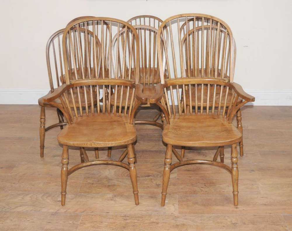 Kitchen Chairs Wood Details About 8 Oak Windsor Kitchen Dining Chairs Farmhouse Chair