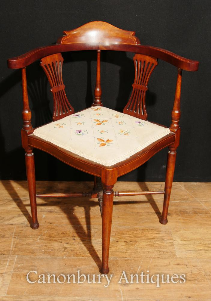 bergere chairs chair cover rentals yonkers ny antique edwardian corner seat mahogany inlay 1910