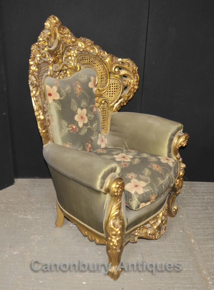 Antique French Rococo Sofa Suite Gilt Arm Chairs Lounge