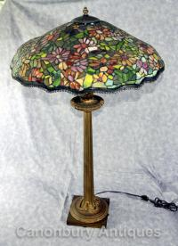 Antique French Tiffany Bronze Table Lamp Light Glass Shade
