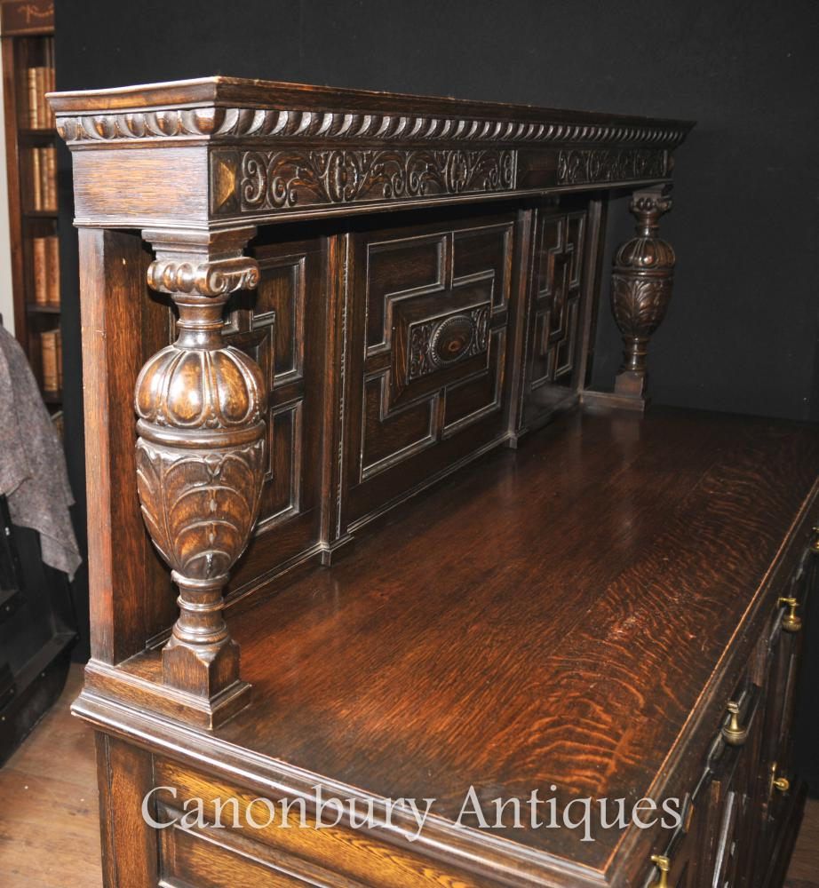 kitchen server moen waterhill faucet details about jacobean sideboard antique oak buffet furniture