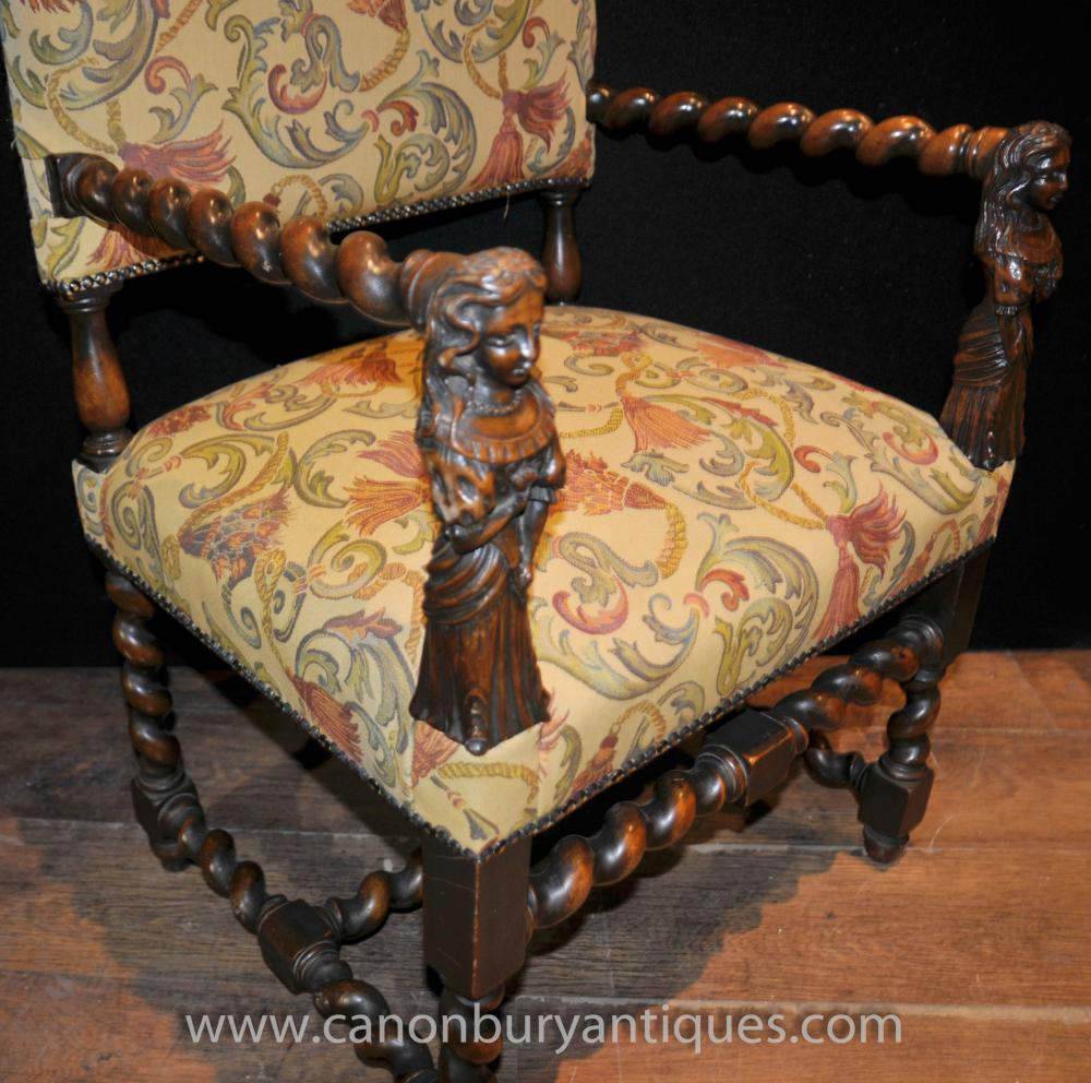 Antique Walnut Hand Carved Italian Arm Chairs Barley Twist