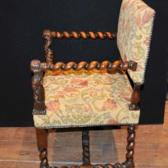 Barley Twist Chair Potty Chairs For Seniors Antique Walnut Hand Carved Italian Arm