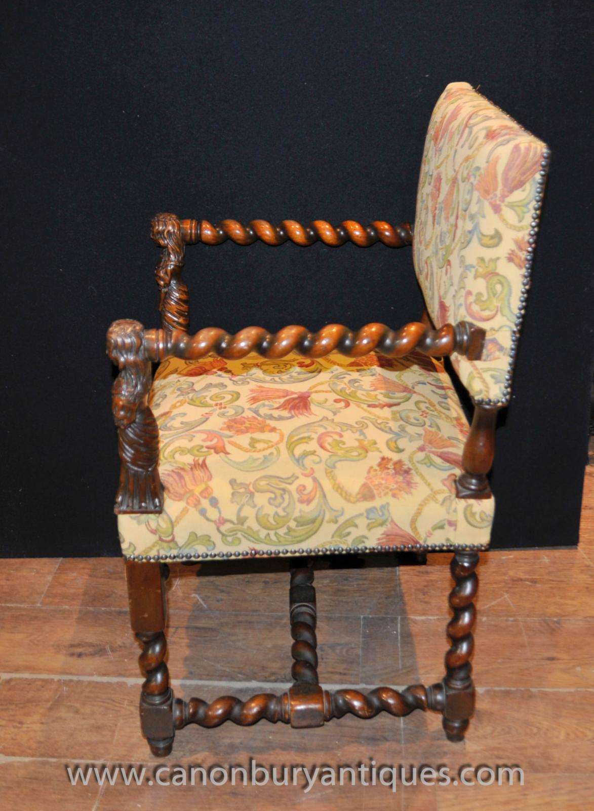 Antique Chairs Ebay Antique Walnut Hand Carved Italian Arm Chairs Barley Twist