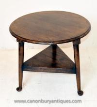 English Oak Farmhouse Cricket Table Side Tables | eBay