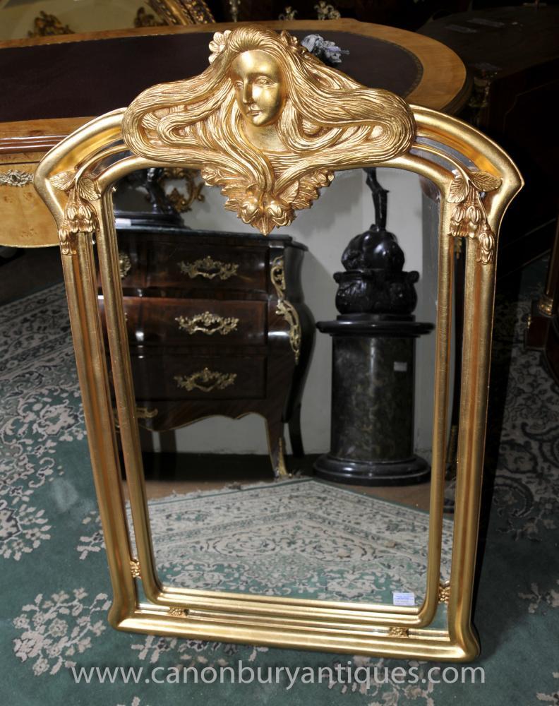 French Art Nouveau Gilt Pier Mirror Maiden Mirrors