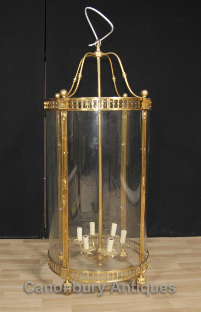 French Empire Brass Lantern Glass Chandelier Lighting Light