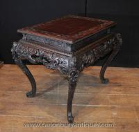 Hand Carved Antique Chinese Mahogany Coffee Table Side ...