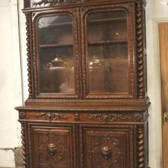 Farmhouse Tables And Chairs Mexican Style Leather Large Antique Oak Cabinet Bookcase Barley Twist 1880