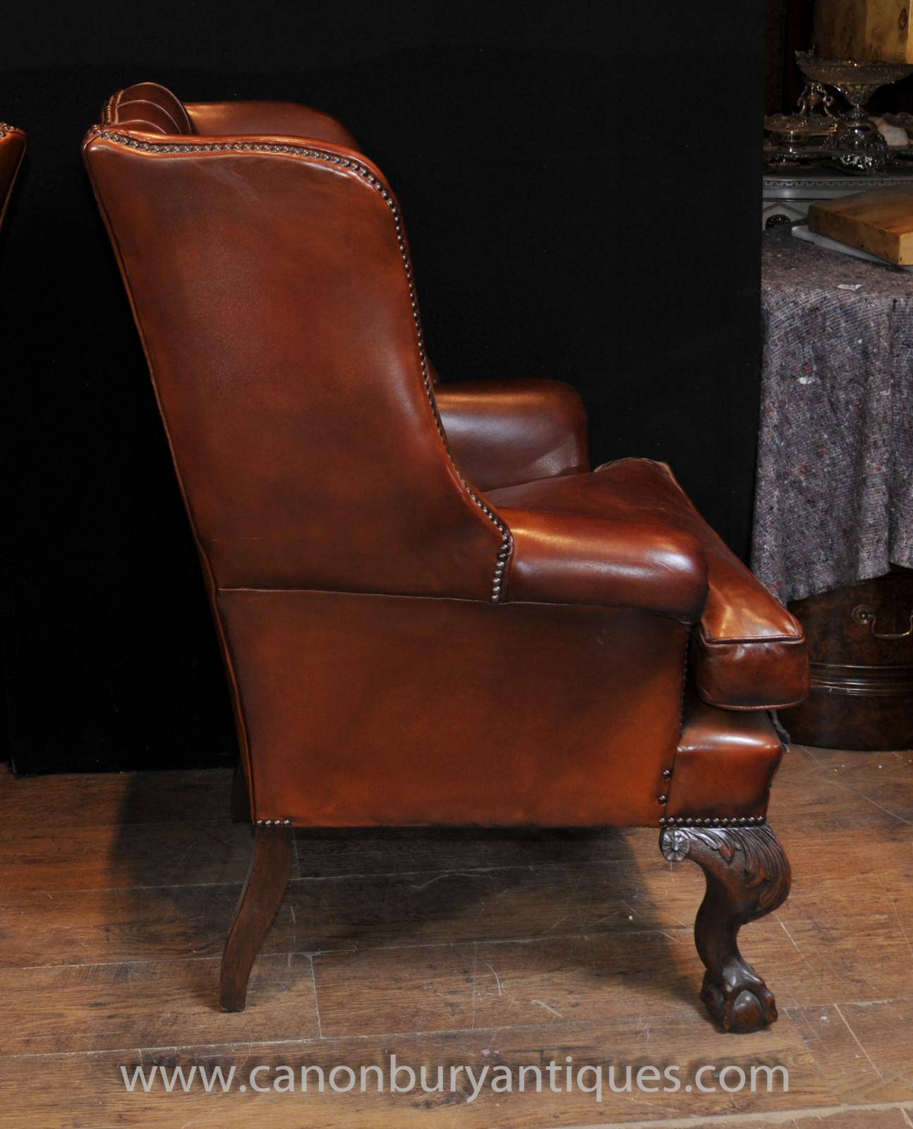 leather wing chair uk emil j paidar barber 1959 pair antique english wingback chesterfield arm chairs