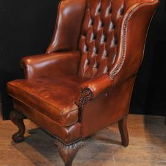 Leather Wing Chair Uk Aniline Lounge And Ottoman Pair Antique English Wingback Chesterfield Arm Chairs