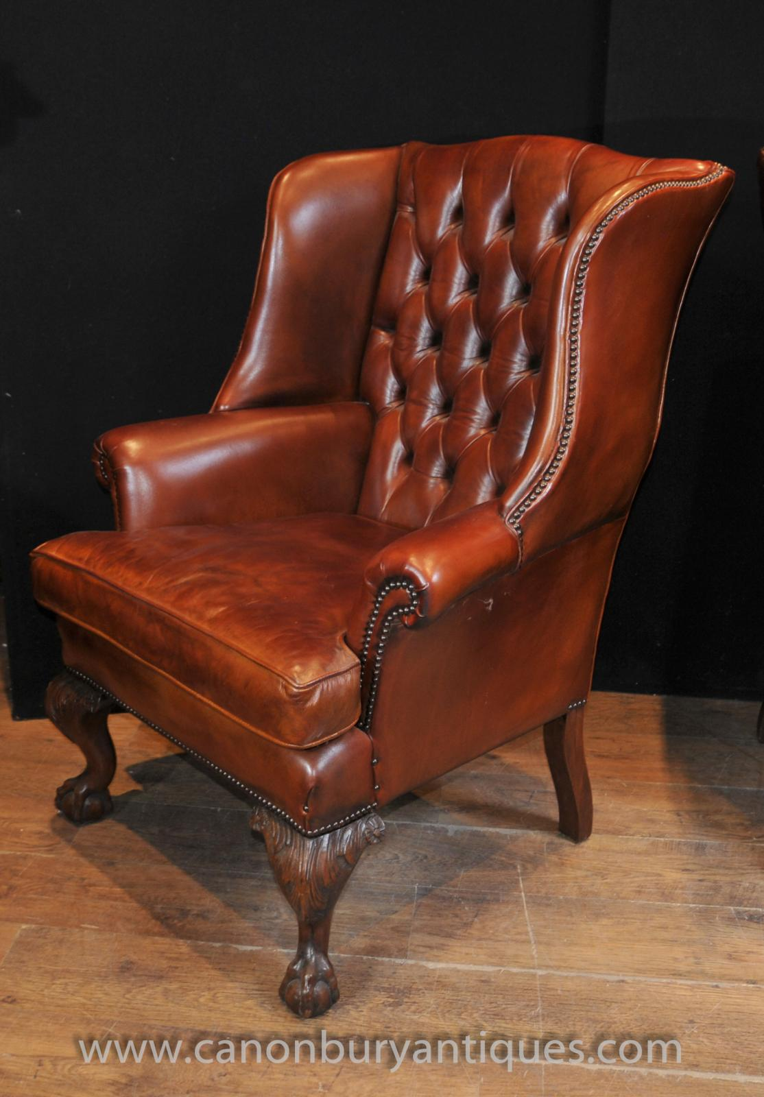 Leather Wing Back Chair Pair Antique English Wingback Chesterfield Arm Chairs