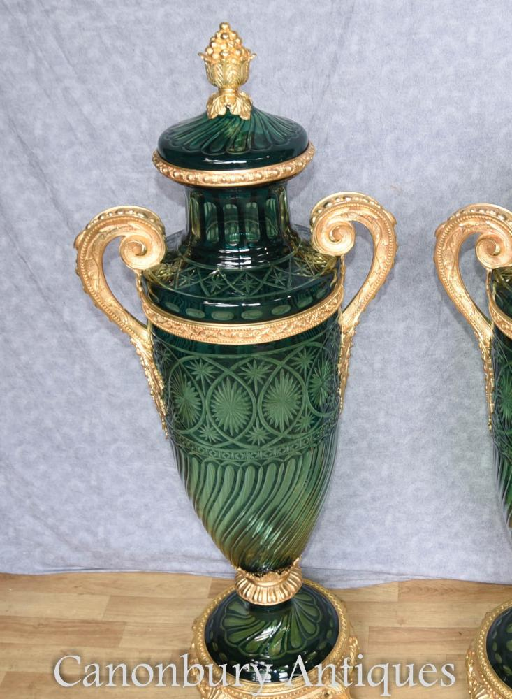 Pair French Empire Amphora Cut Glass Vases Mounted Urns