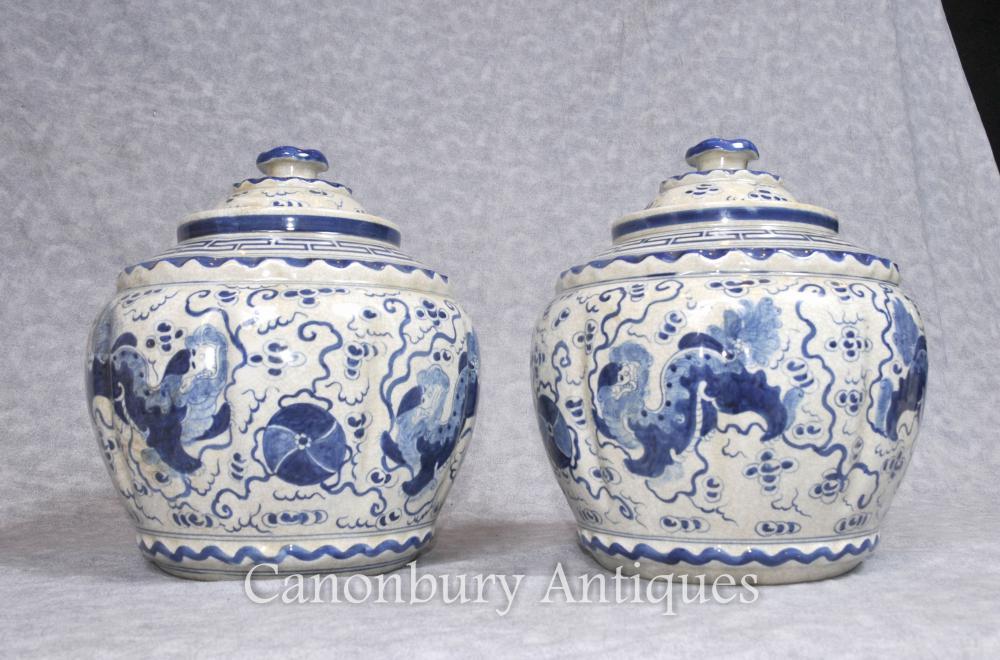 And White Pots Blue Porcelain
