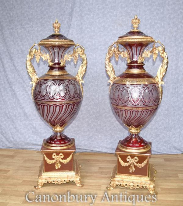 Pair Large Empire Cut Glass Amphora Urns Maiden Ormolu